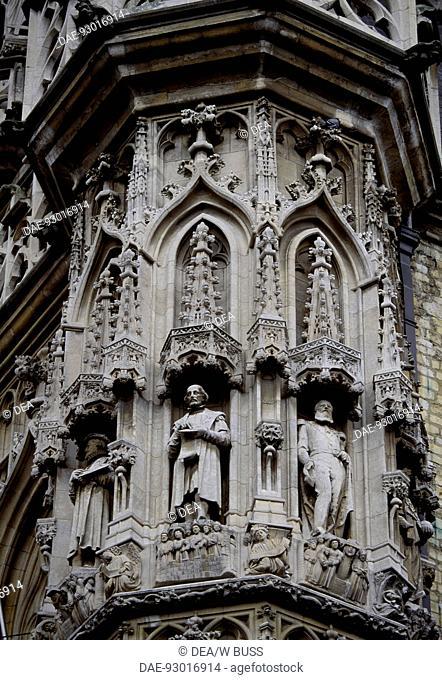 City Hall in Brabantine Gothic style, 1448-1469, by Matthijs de Layens, Market Square, Leuven, Flemish Brabant. Detail. Belgium, 15th century