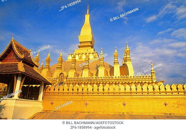 Laos Vientiane Famous That Luang Gold Temple Buddhist religion