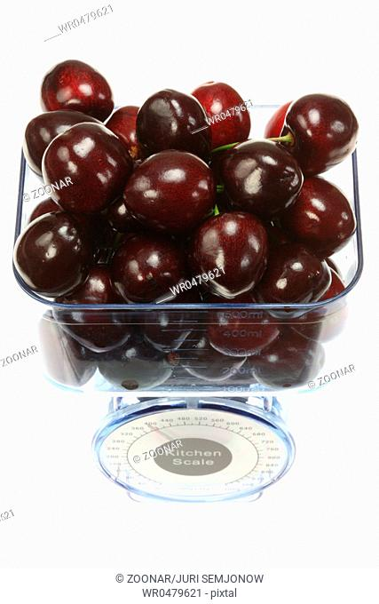 Kitchen scales and cherries