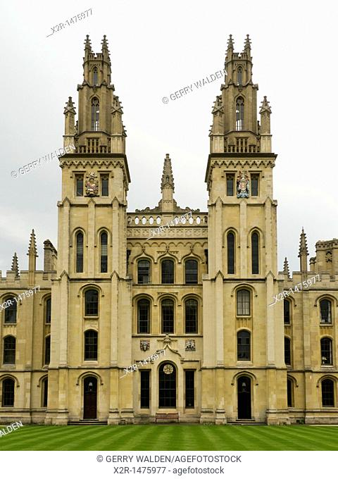 Architectural detail of the Great Quadrangle at All Souls College in Oxford