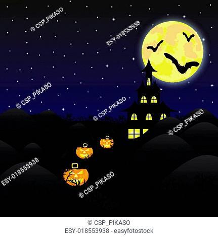 night landscape under a full moon
