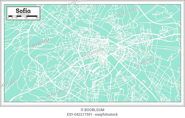 Sofia Bulgaria City Map in Retro Style. Outline Map. Vector Illustration