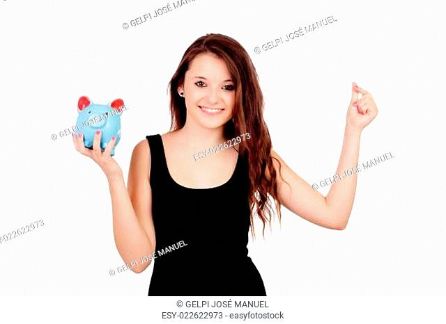 Casual young girl with a blue moneybox