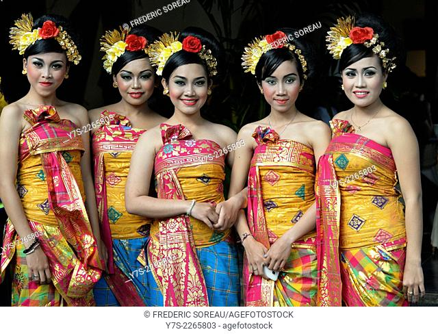 Balineses dancers in Legian beach festival in Bali, Indonesia, South East Asia