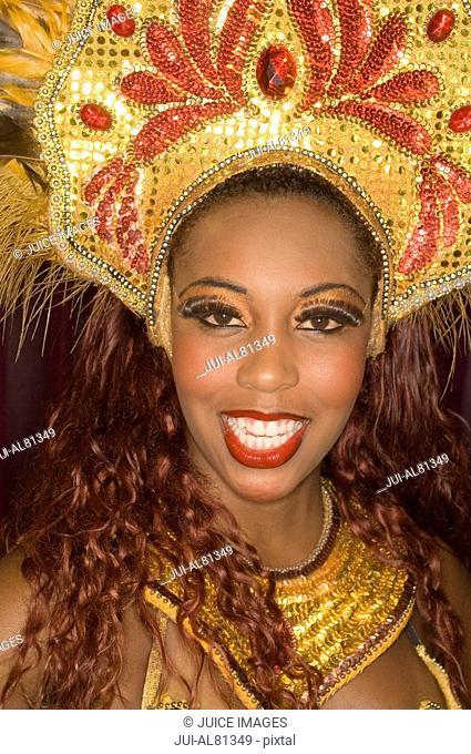 African female Samba dancer in costume