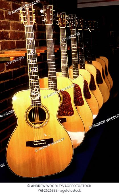 Gallagher factory acoustic guitar display Wartrace Tennessee USA