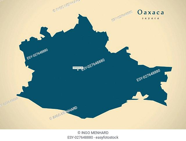 Modern Map - Oaxaca Mexico MX illustration