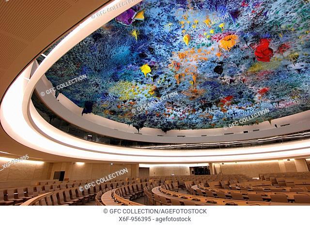 Human rights and Alliance of Civilizations Chamber, ceiling designed by Miquel Barceló, United Nations, Palais des Nations, Geneva, Switzerland