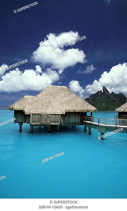 Tourist resort on the water, St. Regis Resort, Bora Bora, French Polynesia