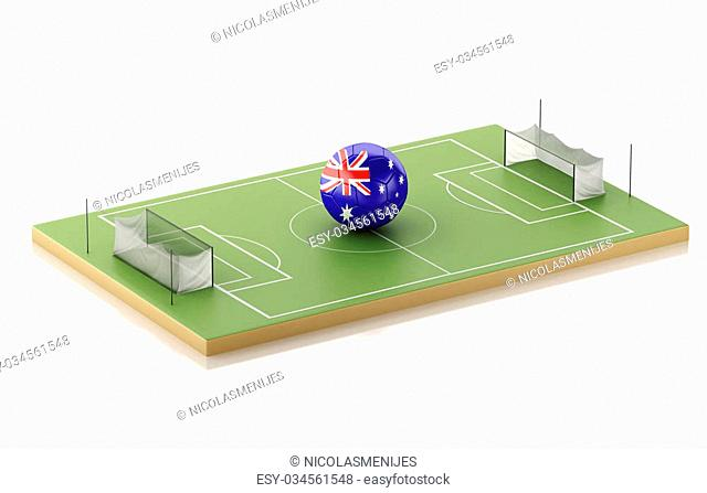 3d illustration. Soccer field and Australia ball. Sports concept. Isolated white background