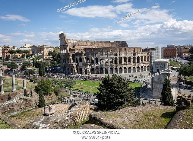 Rome, Lazio, Italy, Colosseum and tourists
