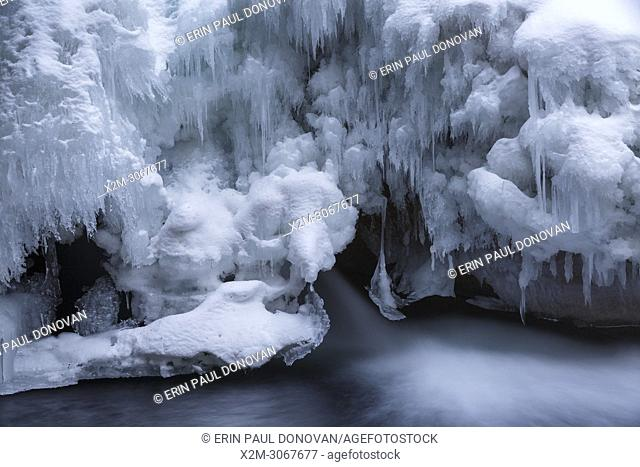 """The natural feature known as """"""""The Basin"""""""" along the Pemigewasset River in Franconia Notch State Park of Lincoln, New Hampshire during the winter months"""