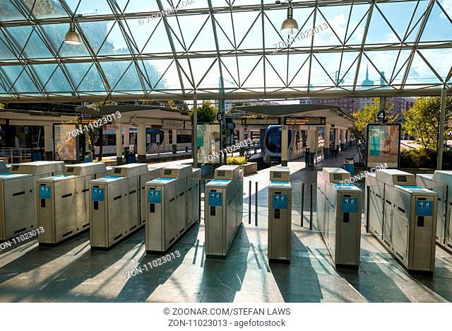 Ticket stamping machines at the Amara railway station in Donostia San Sebastian. In Amara starts the regional train to Bilbao, a regional