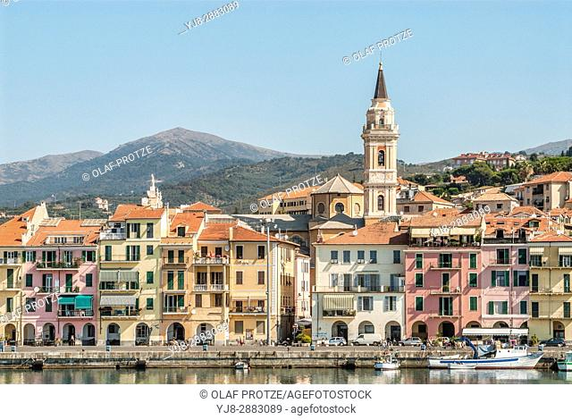 Fishing boats in front of the old town in Oneglia Harbour of Imperia, Liguria, Italy