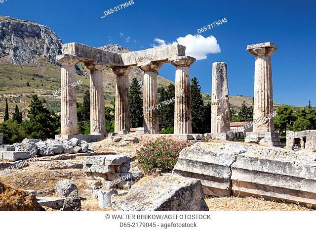 Greece, Peloponese Region, Corinth, Ancient Corinth, Temple of Apollo