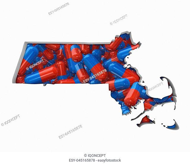 Massachusetts MA Pills Drugs Health Care Insurance Map 3d Illustration