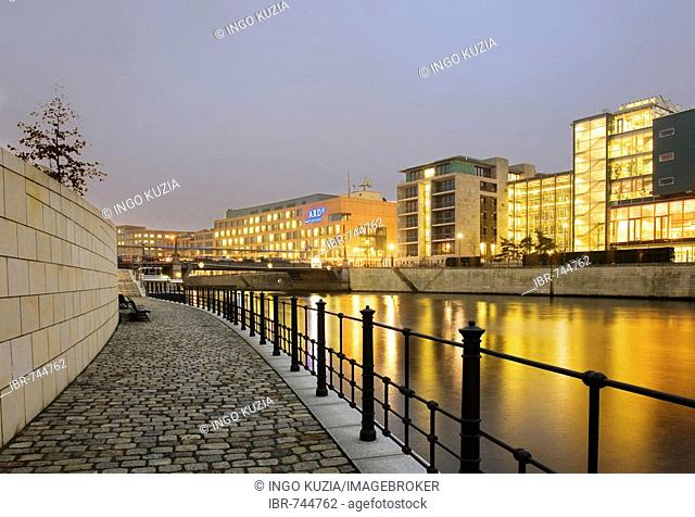 View over the Spree River onto the Jakob Kaiser House and ARD Studios, Berlin, Germany