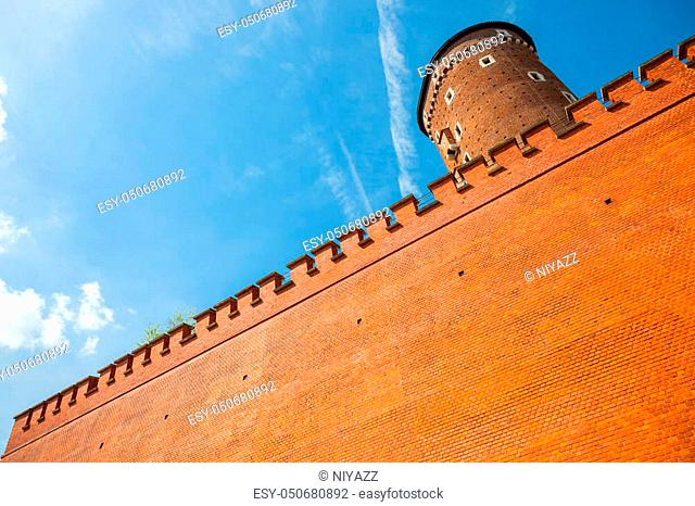 Medieval Sandomierska tower at Royal Wawel Castle as a part of most important historical complex in Krakow, Poland