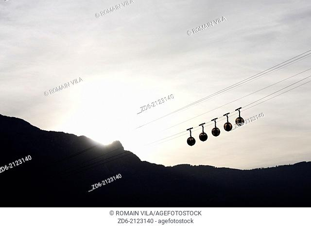 Cable car of Grenoble during the sunset on the Vercors massif, Isere, Rhone Alpes, France, Europe
