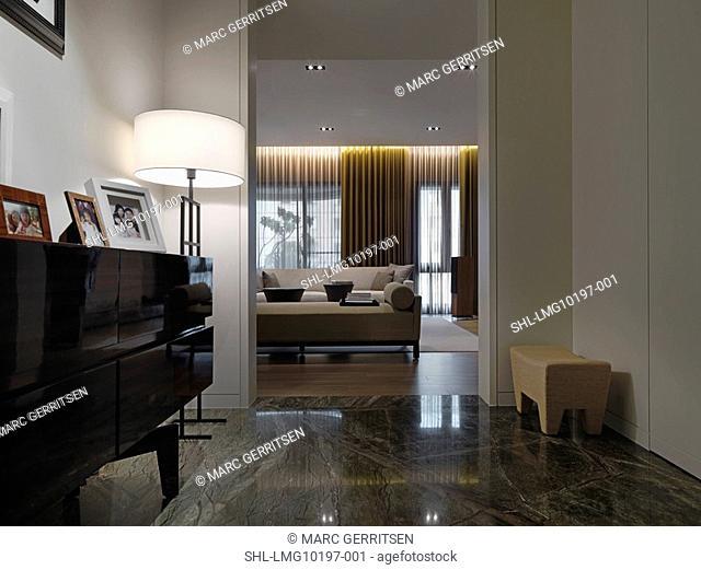 Marble floor in foyer of modern home