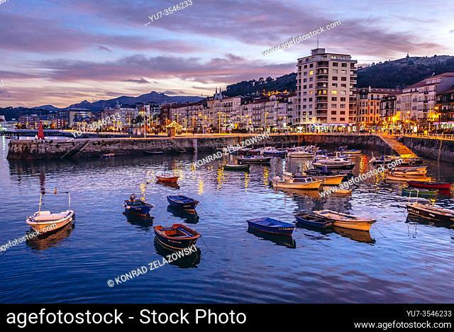 Evening in Castro Urdiales seaport in Cantabria autonomous communit of Spain