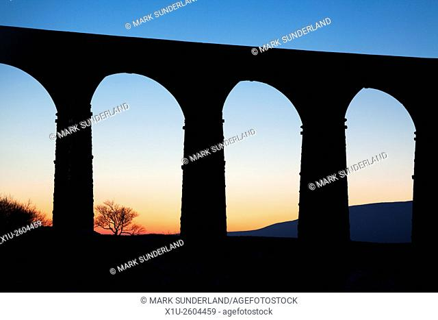 Arches of the Ribblehead Viaduct at Dusk Ribblehead Yorkshire Dales England