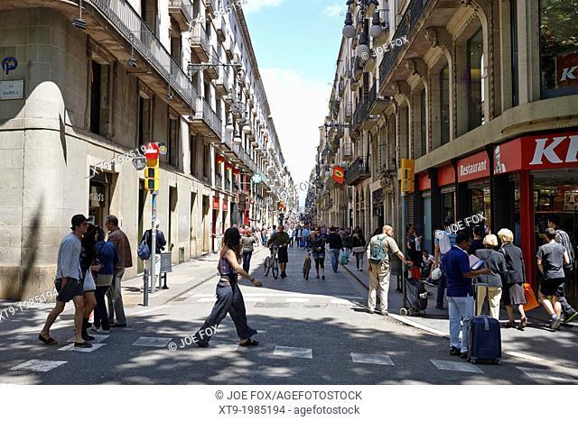 carrer ferran leading from la rambla barcelona catalonia spain
