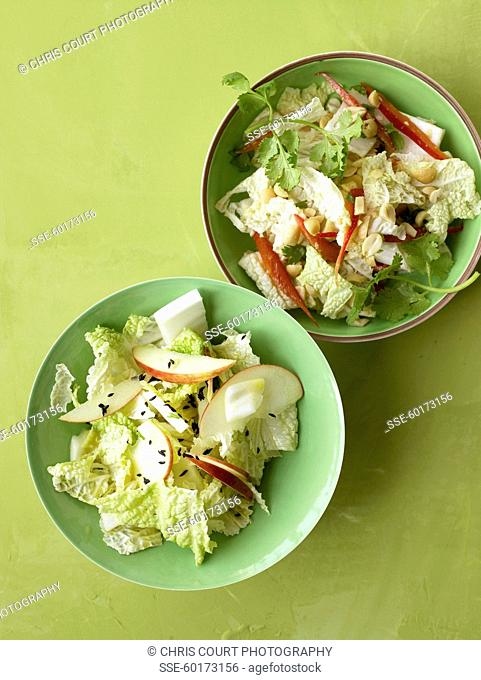 Chinese cabbage and apple salad ,chinese cabbage,red pepper,peanuts and coriander salad
