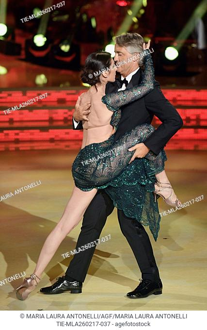 The dance teacher Roberta Beccarini with the soccer coach Roberto Mancini at tv show Ballando con le stelle, Rome, ITALY-25-02-2017