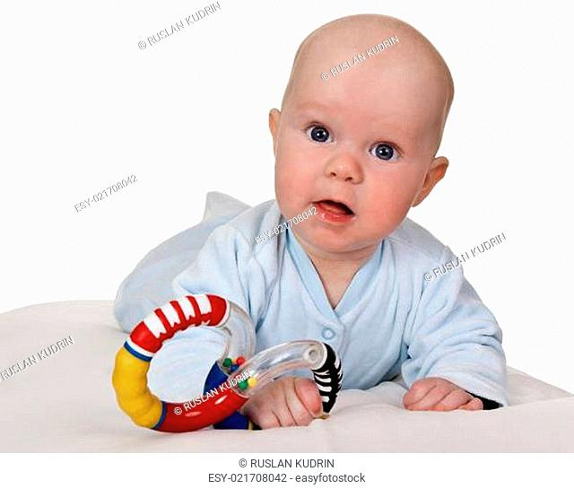 infant with colored plastic toy