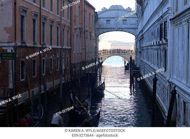 view of Bridge of Sighs and another bridge beyond, from a bridge on Riva degli Schiavoni not far from Piazza San Marco, Venice, Italy