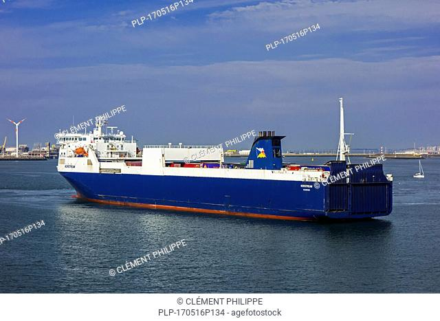 MS Norstream, freight ferry / ro-ro cargo ship in the port of Zeebrugge, Belgium