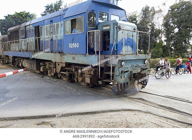 Train passing Santa Clara, Cuba