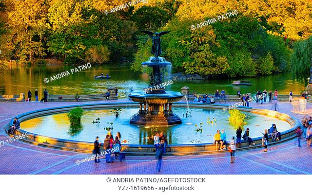 Angel of the Waters on Bethesda Terrace with the Lake and Ramble behind it, Central Park
