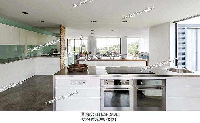 Modern, minimalist home showcase interior kitchen