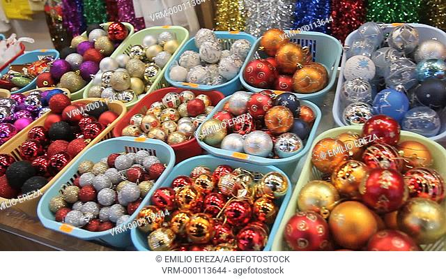 Baubles. Christmas market, Sagrada Familia, Barcelona, Catalonia, Spain