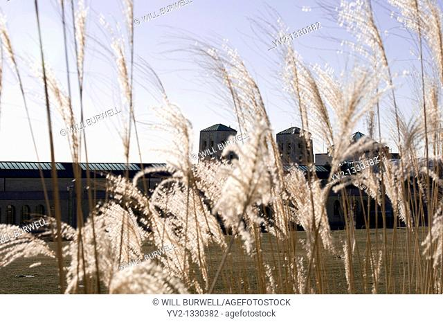 R h Harris water treatment plant behind tall grass, Toronto Canada