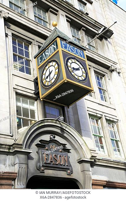 Eason clock, O'Connell street, city of Dublin, Ireland, Irish Republic