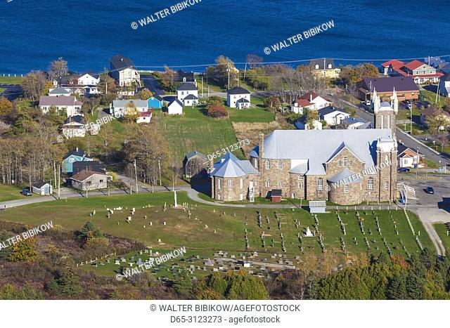 Canada, Quebec, Gaspe Peninsula, Perce, Eglise St-Michel, town church, autumn, elevated view