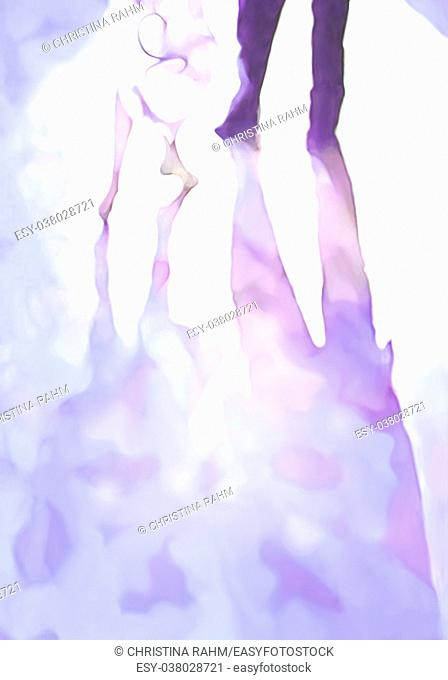 Ballroom dance floor abstract 7, digital painting in pastel purple and blue, male and female legs cast shadows in spotlight