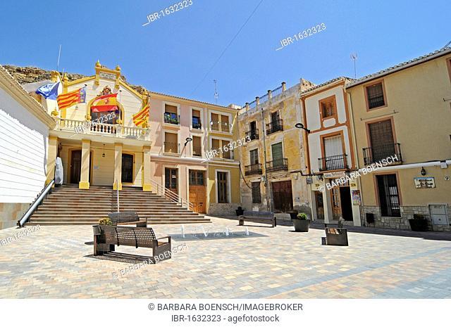 Town Hall, Town Hall Square, historic town centre, Busot Aiguees, La Vila Joiosa, Villajoyosa, Costa Blanca, Alicante Spain, Europe