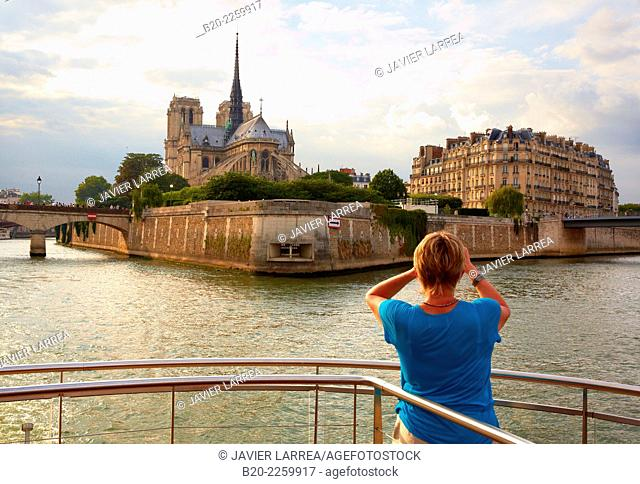 Notre Dame cathedral. Cruise on the Seine River. Paris. France. Europe