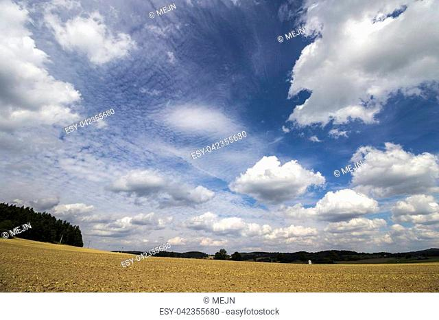 Field after Harvest Summer Wide Angle Landscape View