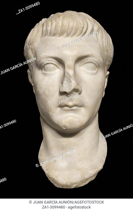 Madrid, Spain - November 11, 2017: Sculpture bust of Roman emperor Drusus, The Younger. National Archeological Museum of Madrid