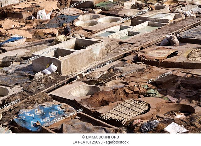 The tanneries just off of Rue Bab Debbagh in the Northern Medina have rooftop dye pits, many full of poisonous substances