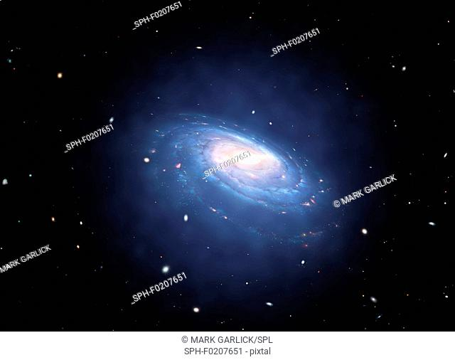 Dark matter halo surrounding galaxy, illustration