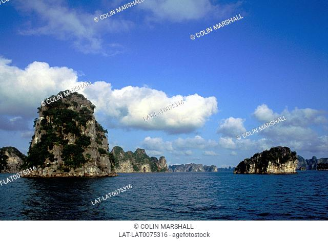 Ha long Bay is a body of water of approximately 1,500 square kilometres in north Vietnam near the border with China,and 170 kilometres east of Hanoi