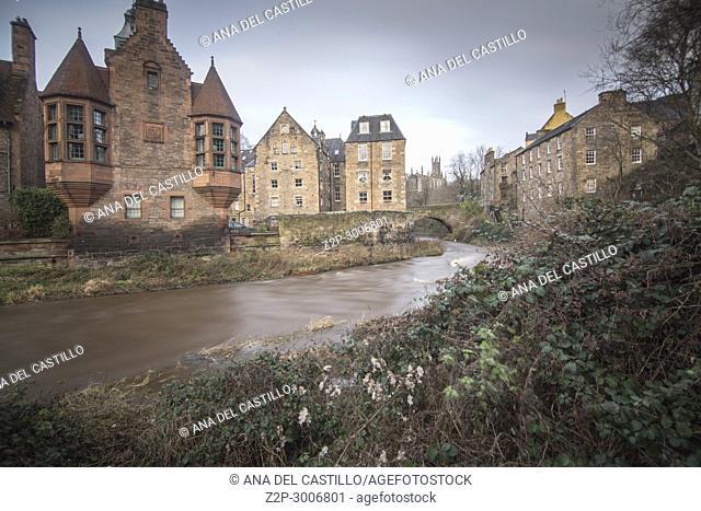 Dean Village along the river Leith in Edinburgh,, Scotland. UK