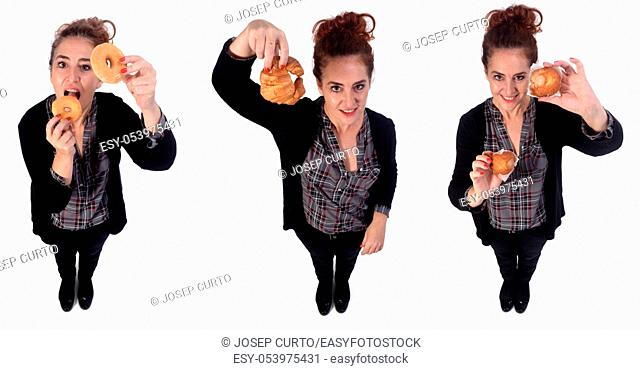 woman with pastries on white background