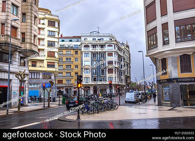 Paseo Colon street in San Sebastian coastal city located in the Basque Autonomous Community, Spain